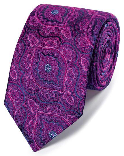 Englische Luxuskrawatte mit floralem Brokatmuster in Rosa