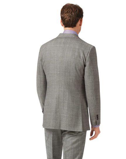 Slim Fit Business-Sakko aus Flanell mit Prince-of-Wales-Karos in Grau