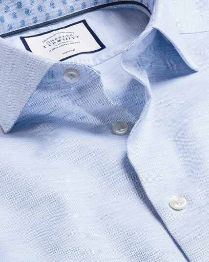 Business Casual Collar Cotton Linen Shirt - Royal Blue