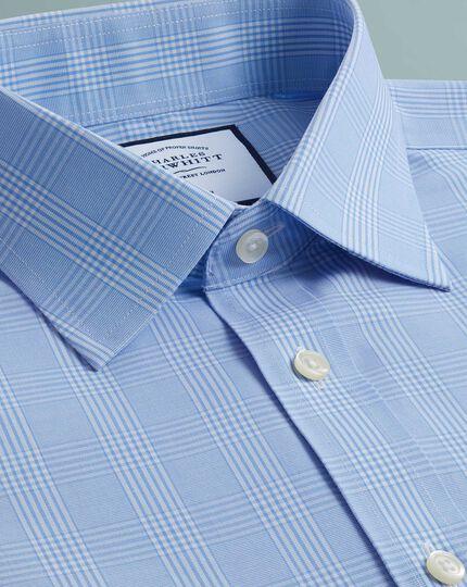 Bügelfreies Classic Fit Hemd mit Prince-of-Wales-Karos in Himmelblau