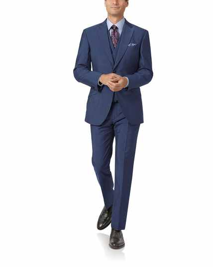 Costume bleu en luxueuse laine italienne slim fit