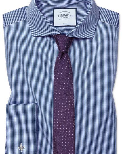 Extra slim fit non-iron cutaway royal blue puppytooth shirt