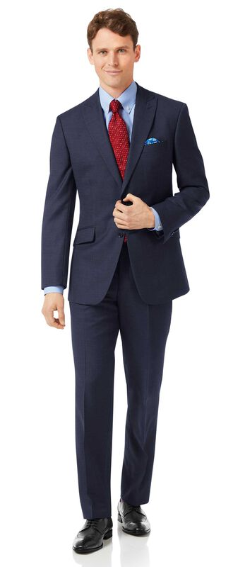 Navy classic fit jaspe business suit