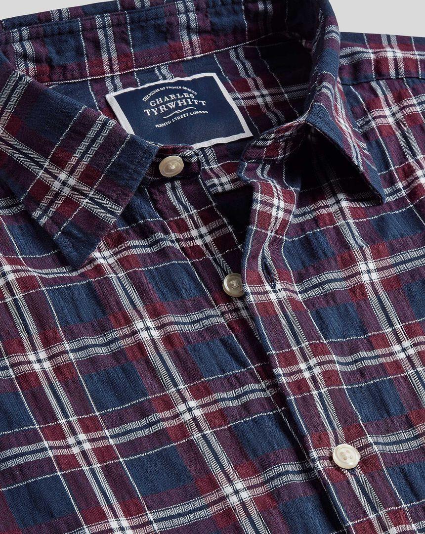 Classic Collar Crinkly Check Shirt - Navy