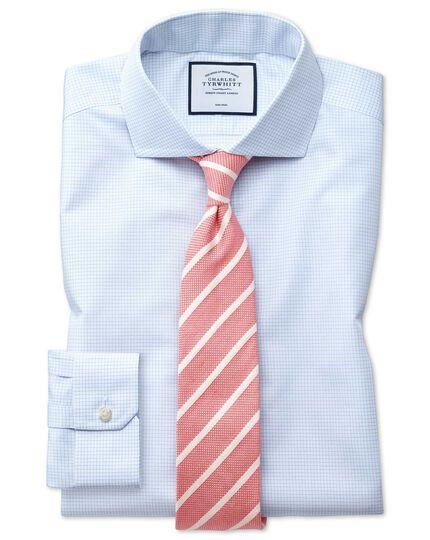 Super slim fit spread collar non-iron natural cool micro check blue shirt