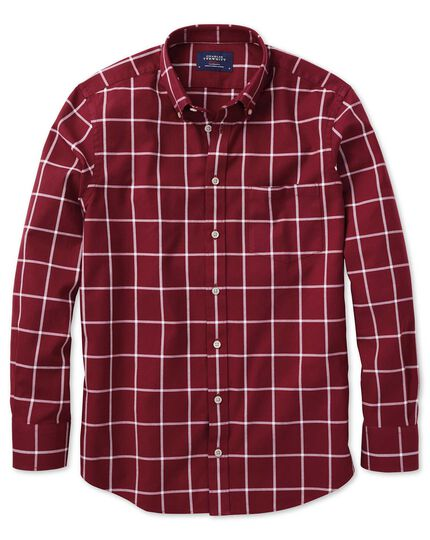 Slim fit button-down washed Oxford burgundy and white check shirt