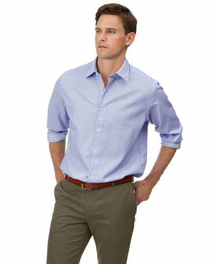 Classic fit soft washed textured grid check sky blue shirt