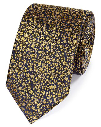 Navy and gold silk floral classic tie