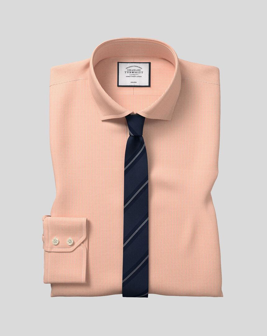 Spread Collar Non-Iron 4 Way Stretch Check Shirt - Orange