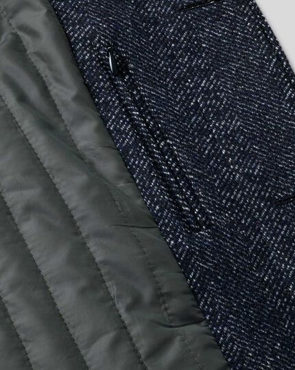 Herringbone Car Coat - Navy