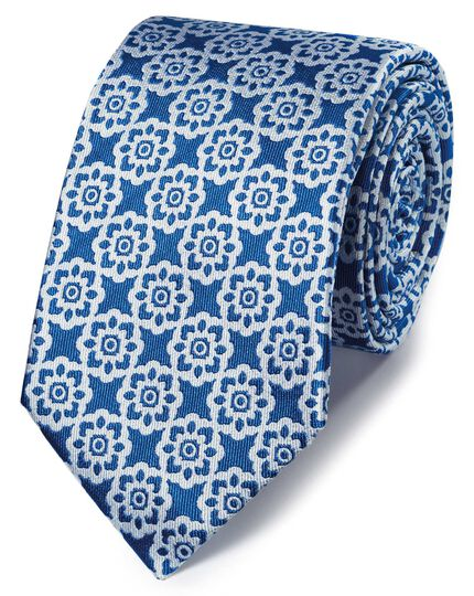 Bright blue floral classic tie