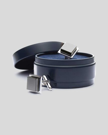 Hematite Square Cufflinks - Grey