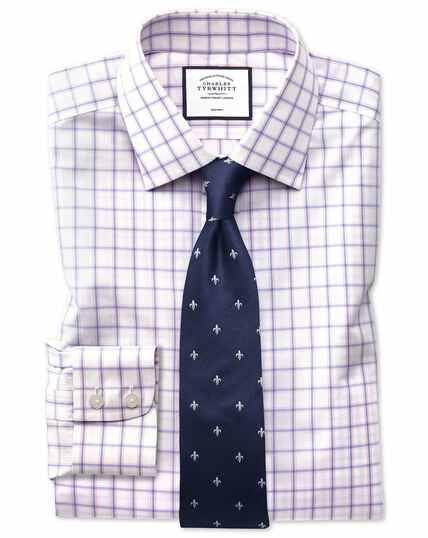 Bügelfreies Slim Fit Hemd mit mehrfarbigen Karos in Blau und Rosa