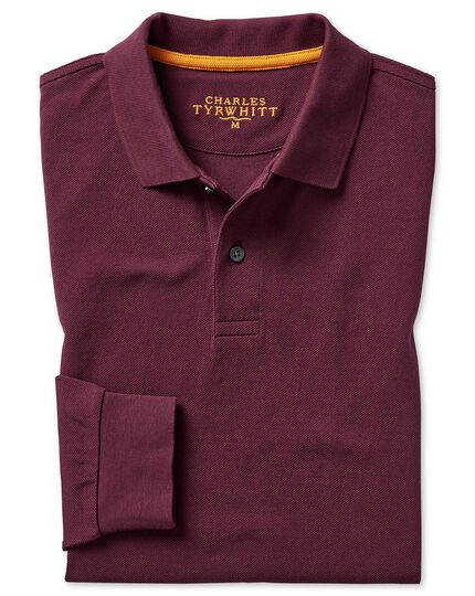 Burgundy long sleeve pique polo
