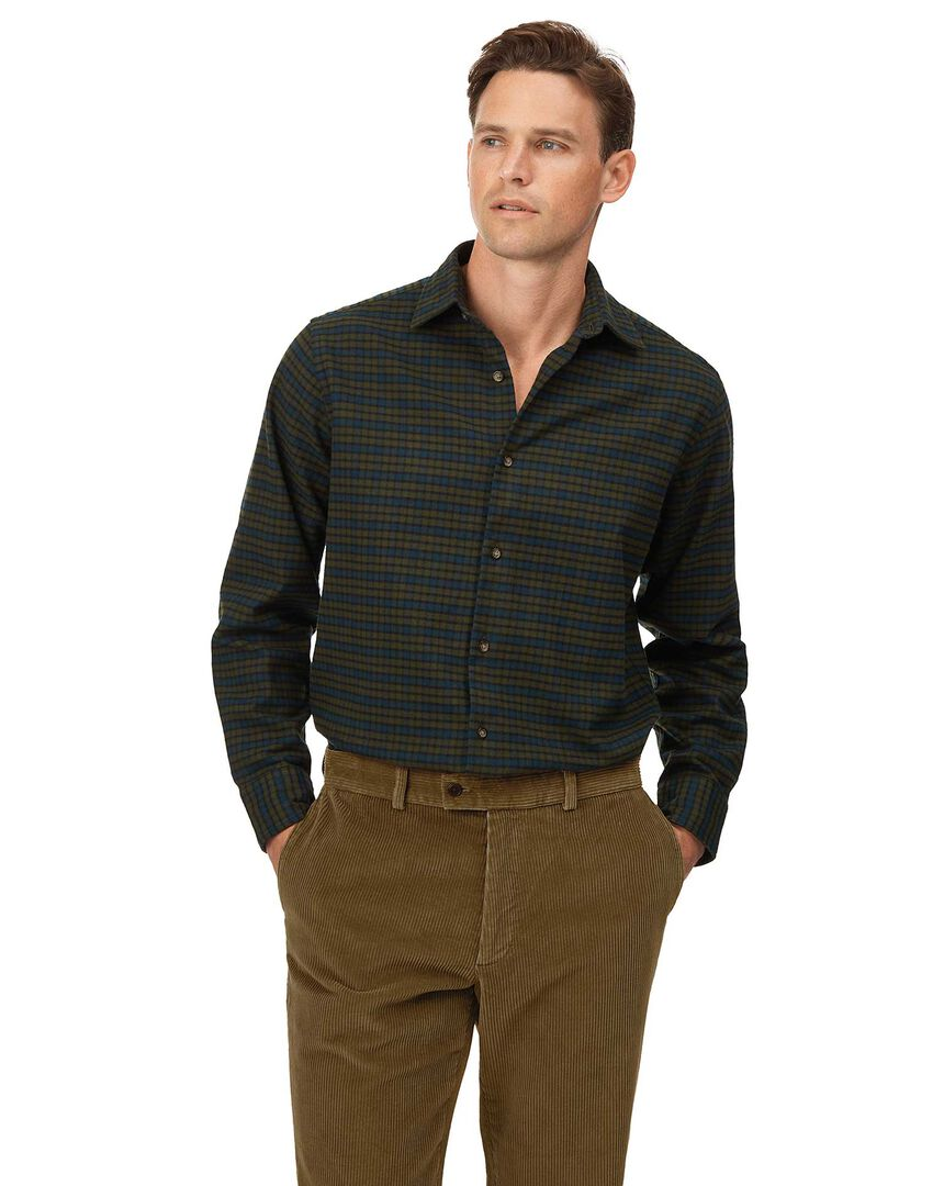 Classic fit winter flannel tartan green check shirt
