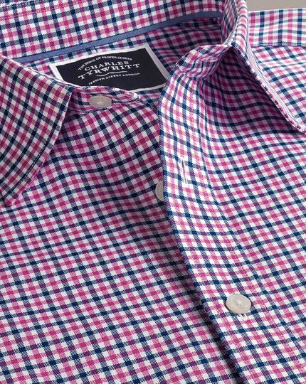 Slim fit non-iron pink and navy gingham Oxford shirt
