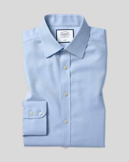 Chemise à chevrons et col classique sans repassage  - Bleu ciel