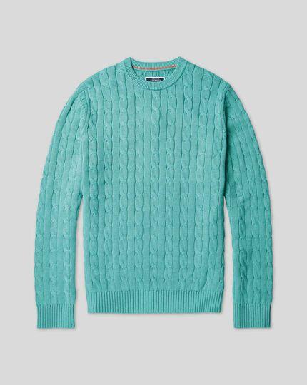 Pull en coton Pima à torsades - Turquoise