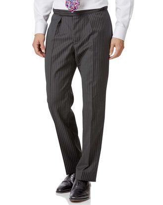 Pantalon de costume de cérémonie noir coupe droite à rayures
