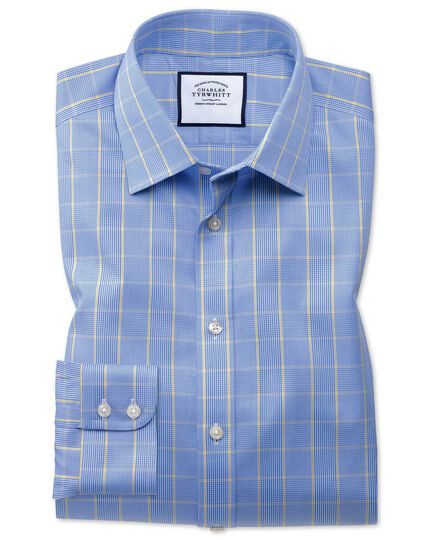 Bügelfreies Extra Slim Fit Hemd in Blau und Gold mit Prince-of-Wales-Karos