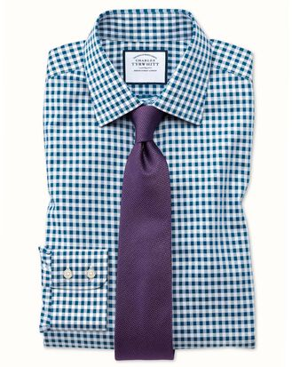 Extra slim fit non-iron gingham teal shirt