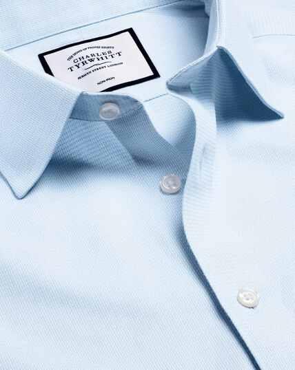 Bügelfreies Hemd mit Mini-Fischgrätmuster - Himmelblau