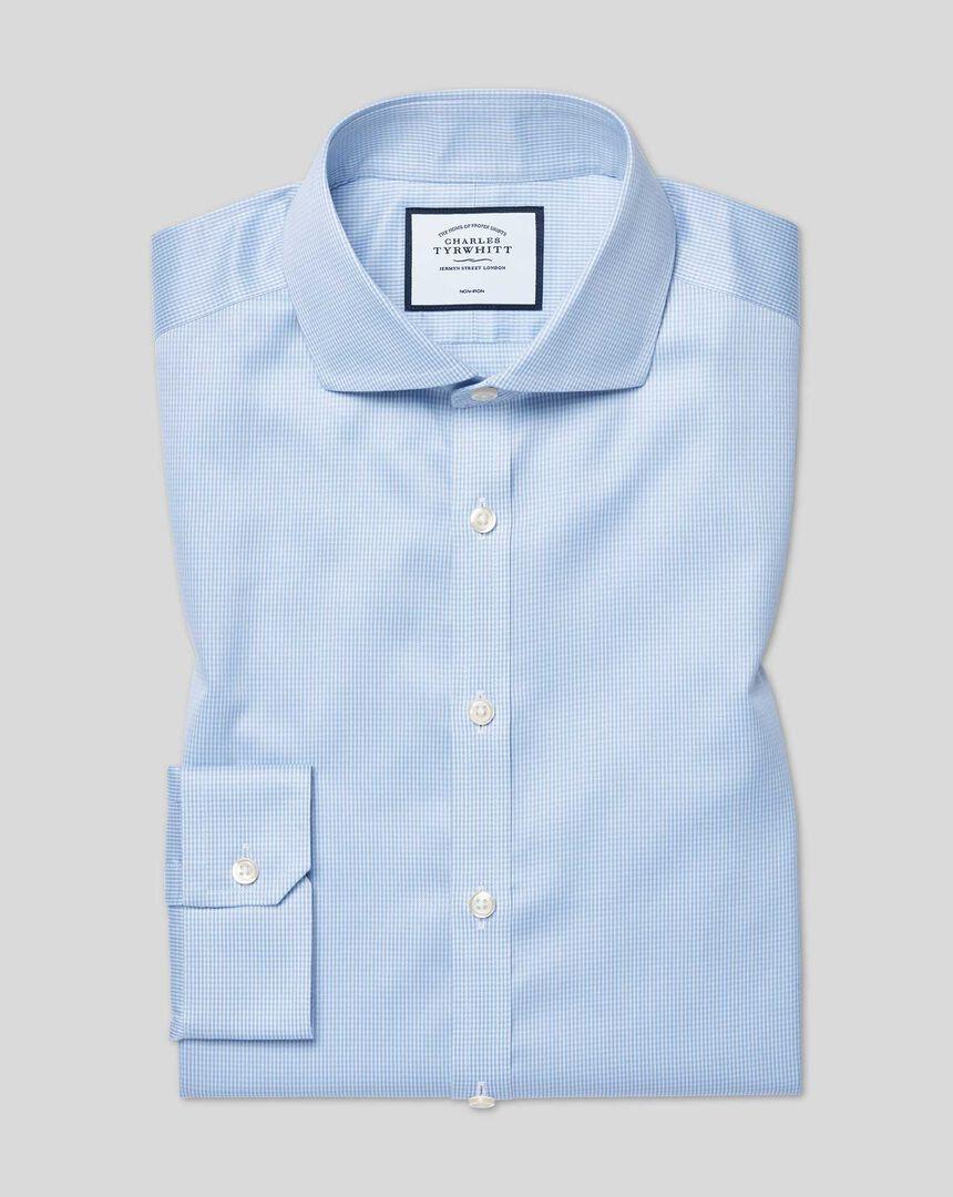 Bügelfreies Hemd aus Stretch-Baumwolle mit Haifischkragen und Hahnentritt - Himmelblau