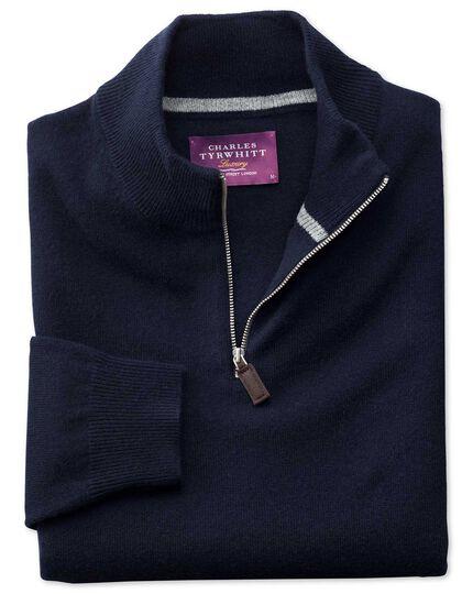 Navy cashmere zip neck jumper