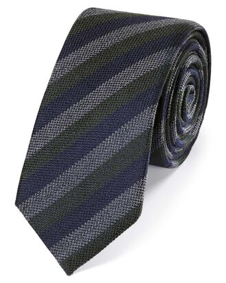 Green wool and silk stripe slim tie