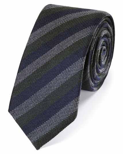 Green wool and silk stripe slim tie