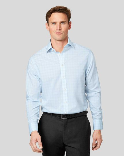 Classic Collar Non-Iron Prince of Wales Check Shirt - Sky