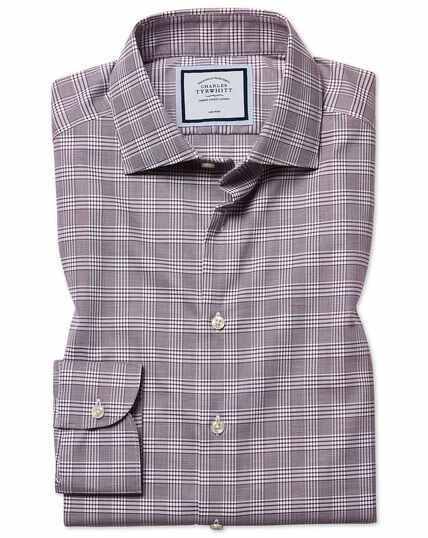Bessenrood strijkvrij overhemd met natuurlijke stretch en Prince of Wales-ruit, slanke pasvorm