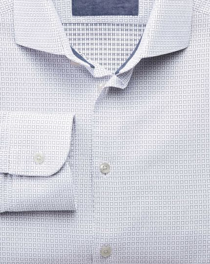 Classic fit semi-cutaway collar business casual square dobby white and navy blue shirt