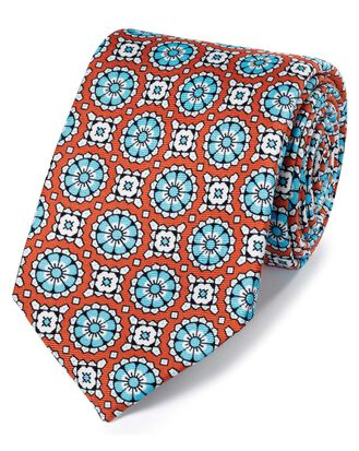 Orange circle medallion print silk English luxury tie