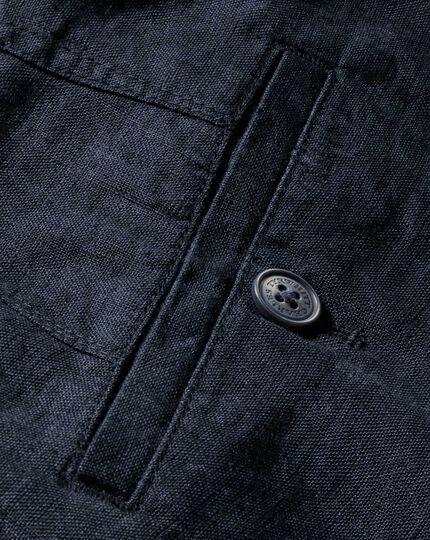 Navy slim fit linen trousers