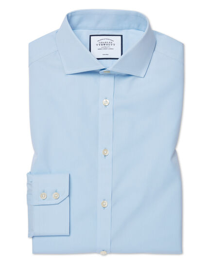 Extra slim fit sky blue non-iron poplin cutaway collar shirt