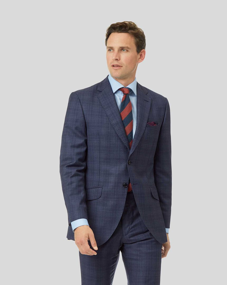 Top Drawer Check Suit Jacket - Airforce Blue