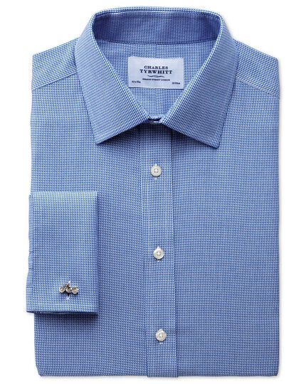 Classic fit non-iron triangle textured royal blue shirt