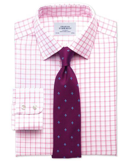 Slim fit non-iron twill grid check light pink shirt