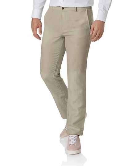 Stone slim fit easy care linen trousers