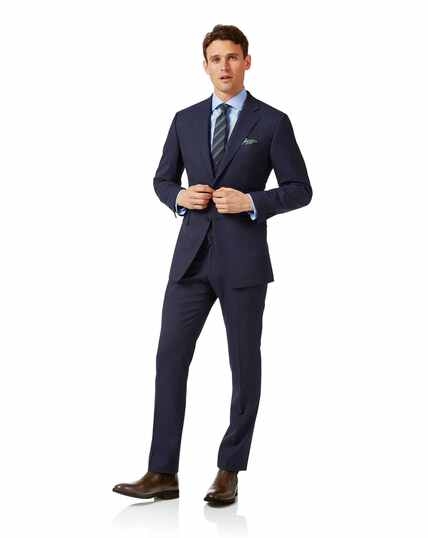 Costume Travel bleu marine en tissu peau de requin slim fit