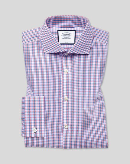 Cutaway Collar Non-Iron Poplin Check Shirt - Blue & Red