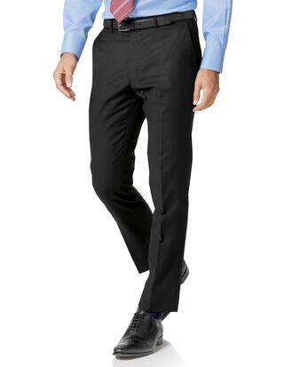 Black slim fit twill business suit trousers