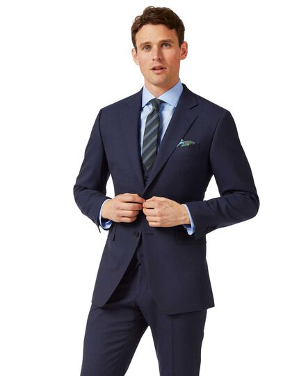 Navy slim fit sharkskin travel suit jacket