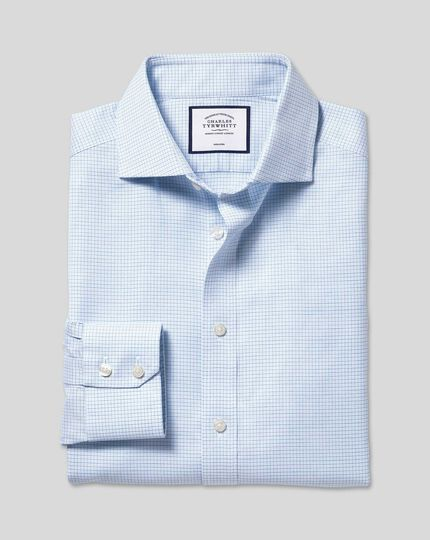 Cutaway Collar Non-Iron Cotton Stretch Check Shirt - Sky