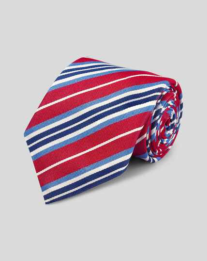 Cravate de luxe en reps de soie anglaise à rayures - Rouge et bleu
