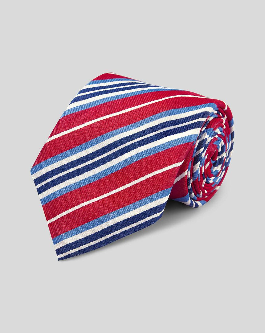Silk Reppe Stripe English Luxury Tie - Red & Blue