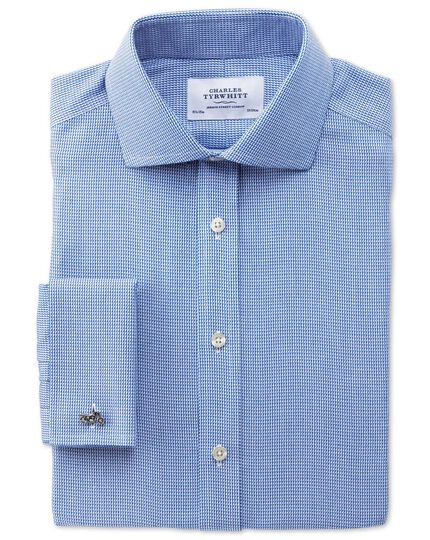 Slim fit spread collar non-iron triangle textured royal blue shirt