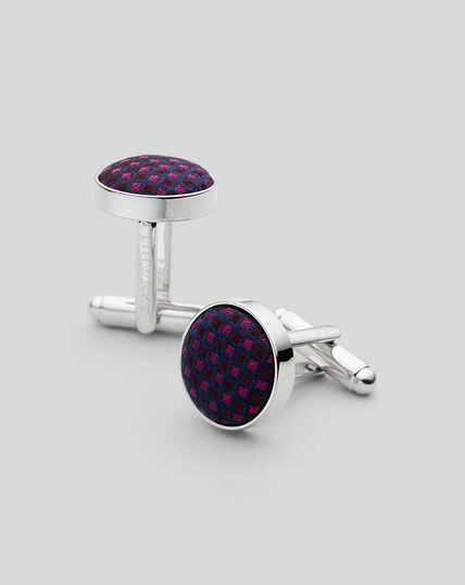 Silk Round Cufflinks - Berry