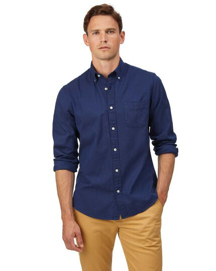 Slim fit royal blue button-down washed Oxford plain shirt